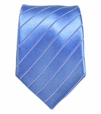 Blue Slim Necktie by Paul Malone . 100% Silk