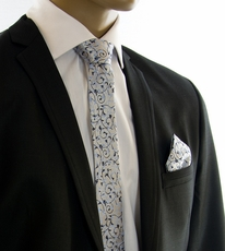 Blue SLIM Silk Tie and Pocket Square by Paul Malone (Slim907H)