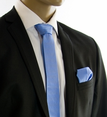 Blue SLIM Silk Tie Set by Paul Malone (Slim502H)