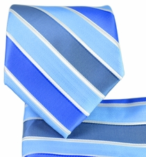 Blue Striped Necktie and Pocket Square
