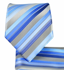 Blue Striped Necktie and Pocket Square Set