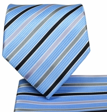 Blue Striped Necktie and Pocket Square Set (Q575-B)