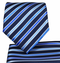 Blue Striped Necktie and Pocket Square Set (Q575-D)