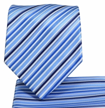 Blue Striped Necktie and Pocket Square Set (Q576-A)