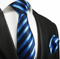 Blue Striped Silk Tie and Pocket Square by Paul Malone Red Line