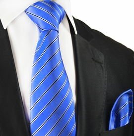Blue Striped Silk Tie and Pocket Square by Paul Malone