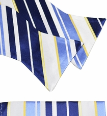 Blue, White and Gold Silk Bow Tie Set by Paul Malone (BT924H)