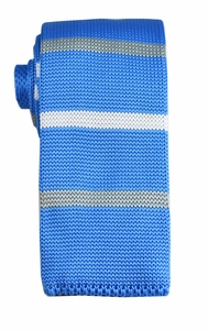 Blue, White and Grey Knit Tie by Paul Malone (KN659)