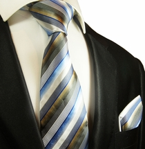 Blue, White and Tan Striped Silk Tie Set by Paul Malone Red Line