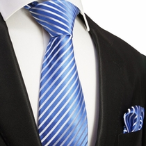 Blue & White Silk Necktie & Pocket Square by Paul Malone (923H)