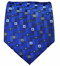 Blue, Yellow and White Mens Tie