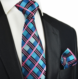 Bluebird and Pink Plaid Silk Tie Set by Paul Malone