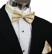 Bow Tie and Pocket Square by Paul Malone . Champagne Paisley (BT442H)