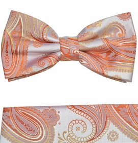 Bow Tie and Pocket Square by Paul Malone . Coral Paisleys (BT871H)