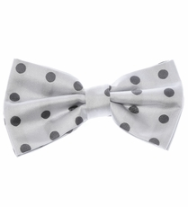 Bow Tie and Pocket Square Set . White and Charcoal Polka Dots (BT487-K)