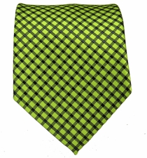Bright Green and Black Mens Tie
