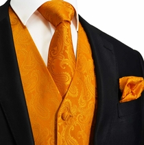 Bright Orange Paisley Tuxedo Vest Set