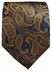 Bronze and Navy Paisley Paul Malone Silk Necktie (512)