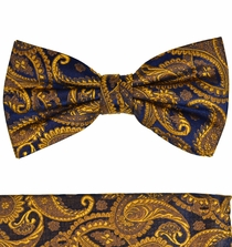 Bronze Paisley Bow Tie and Pocket Square by Paul Malone . 100% Silk (BT512H)