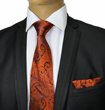 Bronze Paisley Silk Tie Set by Paul Malone