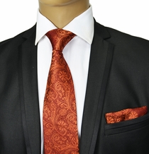 Bronze Paisley Silk Tie Set . Paul Malone Red Line