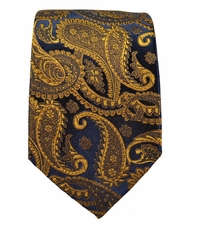 Bronze Paisley Slim Silk Tie by Paul Malone