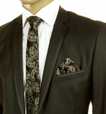 Bronze Patterned SLIM Silk Tie Set by Paul Malone (Slim584H)
