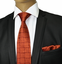 Bronze Silk Tie and Pocket Square . Paul Malone Red Line