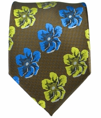Men's Tie . Brown with Green and Blue Flowers