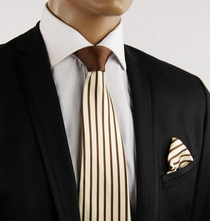 Brown a. Cream Contrast Knot Silk Tie by Steven Land