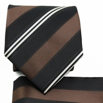 Brown and Black Striped Tie a. Pocket Square (Q506-E)