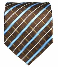 Brown and Blue Men's Tie