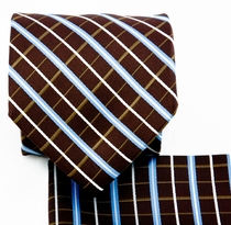 Brown and Blue Necktie and Pocket Square (Q578-C)