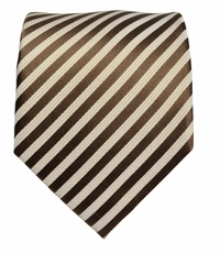 Brown and Cream Silk Necktie by Paul Malone (917)