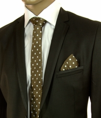 Brown and Cream SLIM Silk Tie Set by Paul Malone (Slim589H)