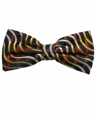 Brown and Gold Bow Tie by Paul Malone . 100% Silk