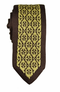 Brown and Gold Knit Tie by Paul Malone (KN669)