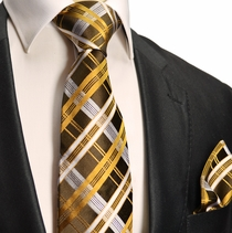 Brown and Gold Plaid Silk Tie Set . Paul Malone Red Line