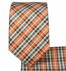 Brown and Orange Plaid Slim Tie and Pocket Square (Q125)