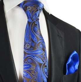 Brown and Royal Blue 7-fold Silk Tie Set by Paul Malone