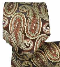 Brown and Tan Paisley Tie and Pocket Square