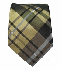 Brown and Tan Slim Silk Tie by Paul Malone