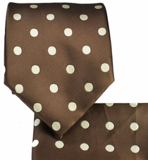Brown & Beige Polka Dots, Necktie & Pocket Square