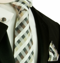 Brown, Black, White and Tan Plaid Silk Necktie Set by Paul Malone (561CH)