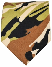 Brown Camouflage Cotton Tie by Paul Malone Red Line