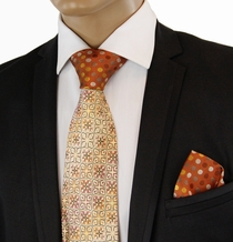 Brown Contrast Knot Silk Tie Set by Steven Land