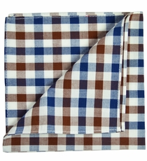 Brown, Navy and White Cotton Pocket Square by Paul Malone