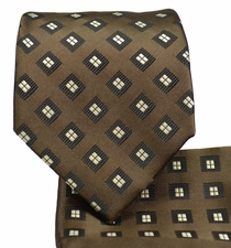 Brown Necktie and Pocket Square Set