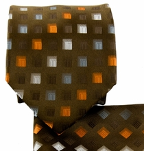 Brown, Orange and Gray Necktie and Pocket Square