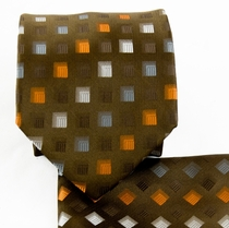 Brown, Orange and Gray Necktie and Pocket Square (Q570-olive)